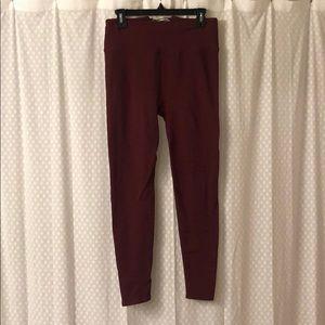Fabletics maroon ribbed leggings